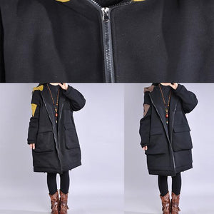 Warm yellow outwear trendy plus size Coats hooded zippered winter coats