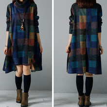Load image into Gallery viewer, Warm blue winter dresses cozy plaid plus size dresses