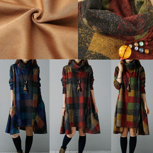 Warm blue winter dresses cozy plaid plus size dresses