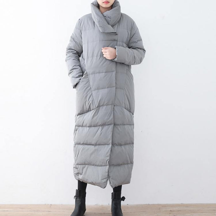 Warm gray Parka trendy plus size large lapel quilted coat thick big pockets coats