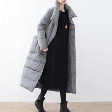 Load image into Gallery viewer, Warm gray Parka trendy plus size large lapel quilted coat thick big pockets coats