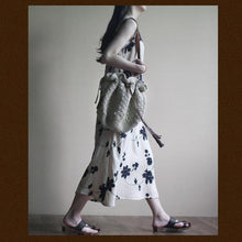 Load image into Gallery viewer, White Embroideried floral maxi dress cotton sundress oversize