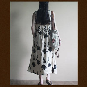 White Embroideried floral maxi dress cotton sundress oversize