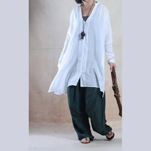 Load image into Gallery viewer, White V neck cotton summer shirt dress cotton blouse loose shirt