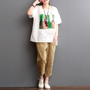 White beer bottles print linen t shirt plus size