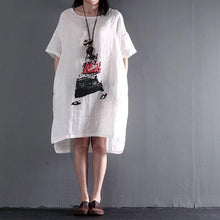 Load image into Gallery viewer, White city girl linen shift dresses plus size sundress summer maxi dresses