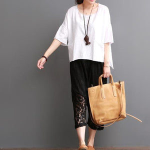 White cotton blouse for summer women shirt