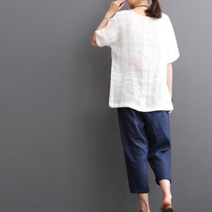 White cotton blouse summer short sleeve shirt top