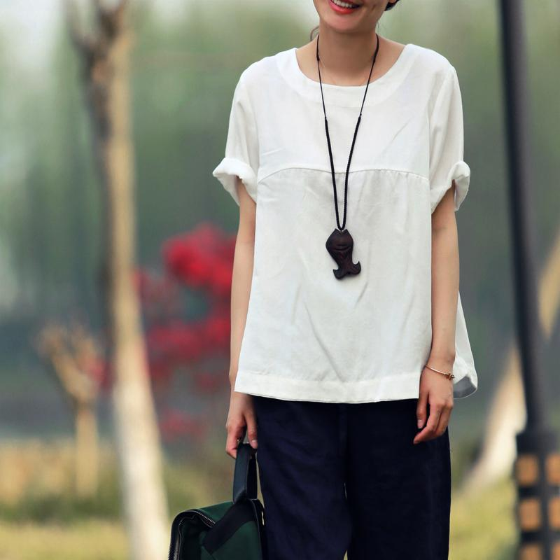White cotton blouse women summer shirt oversize top