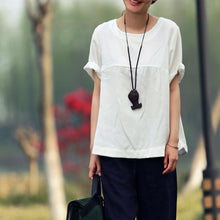 Load image into Gallery viewer, White cotton blouse women summer shirt oversize top