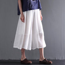 Load image into Gallery viewer, White cotton blowy crop pants wide leg skirt pants