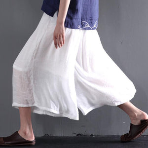 White cotton blowy crop pants wide leg skirt pants