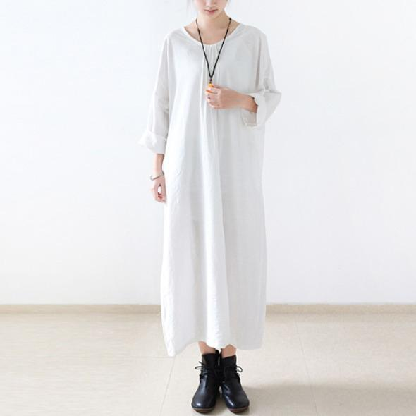 White cotton dress long sleeve linen spring dresses oversize caftans