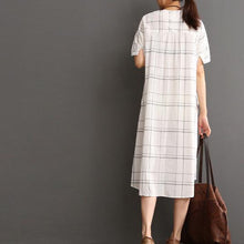 Load image into Gallery viewer, White cotton dress plaid sundress plus size summer maxi dress