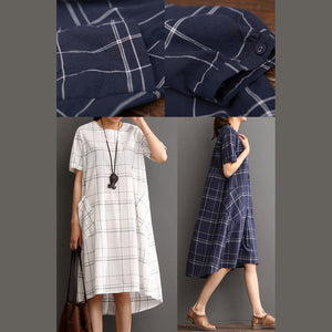 White cotton dress plaid sundress plus size summer maxi dress