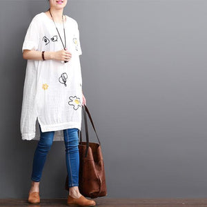 White cotton dresses short sleeve opens at side