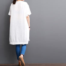 Load image into Gallery viewer, White cotton dresses short sleeve opens at side