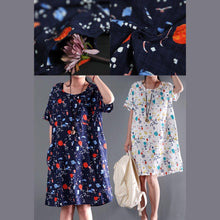 Load image into Gallery viewer, White cotton floral print sundress short sleeve summer shift dress oversize