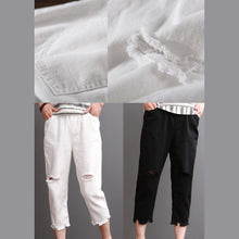 Load image into Gallery viewer, White cotton pants summer crop pants women