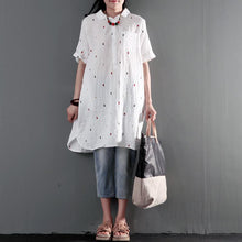 Load image into Gallery viewer, White cotton shift dress for summer plus size sundress fine cotton dotted embroidery