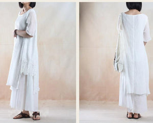 White dress pleated linen sundress long linen maxi dresses plus size