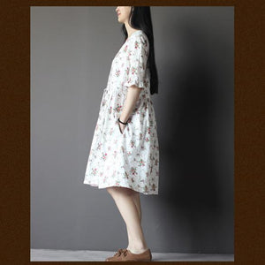 White floral sundress oversize cotton shift dresses half sleeve