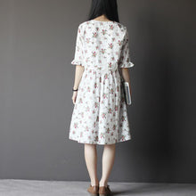 Load image into Gallery viewer, White floral sundress oversize cotton shift dresses half sleeve
