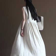 Load image into Gallery viewer, White flowy linen dress summer long maxi dress sundresses beach holiday dress