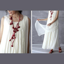 Load image into Gallery viewer, White flowy linen maxi dress sunderss holiday summer dresses