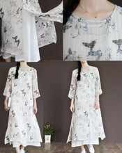 Load image into Gallery viewer, White flowy sundress half sleeve cotton maxi dresses plus size cotton clothing