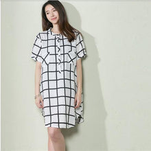 Load image into Gallery viewer, White grid summer baggy dress plus size shift dress sundresses