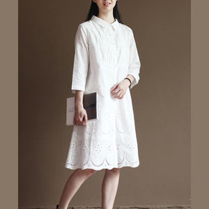White hollowed hem pure cotton dresses bracelet sleeve maxi dress
