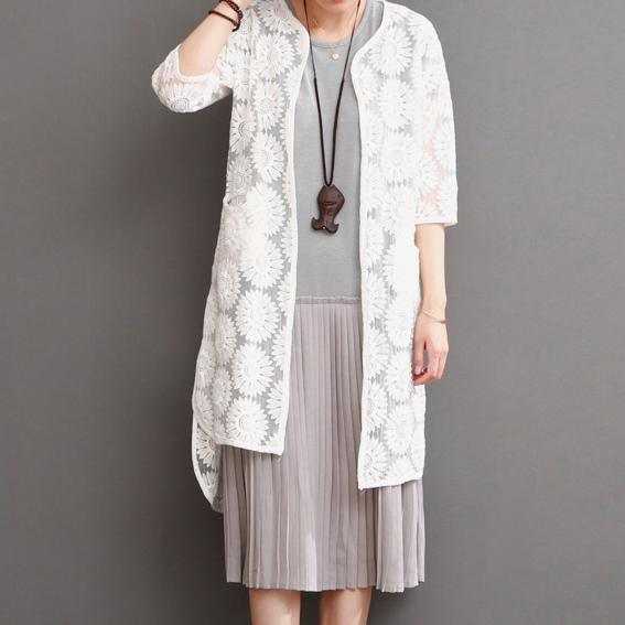 White lace cardigan for summer daisy lace long coat