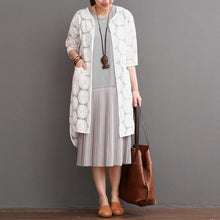 Load image into Gallery viewer, White lace cardigan for summer daisy lace long coat