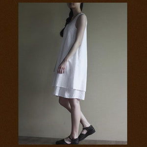 White layered cotton sundress sleeveless summer dress loose fitting