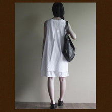 Load image into Gallery viewer, White layered cotton sundress sleeveless summer dress loose fitting