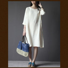 Load image into Gallery viewer, White linen dress Three Quarter Sleeves sundress