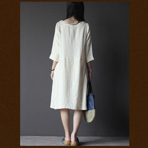 White linen dress Three Quarter Sleeves sundress