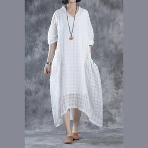 White linen dresses layered cotton caftans half sleeve