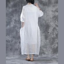 Load image into Gallery viewer, White linen dresses layered cotton caftans half sleeve