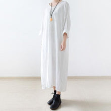 Load image into Gallery viewer, White linen dresses oversize long maxi dress