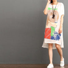 Load image into Gallery viewer, White linen dresses summer casual dress shift sundress