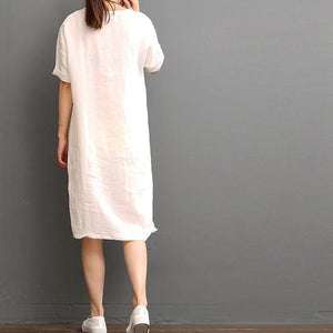 White linen dresses summer casual dress shift sundress