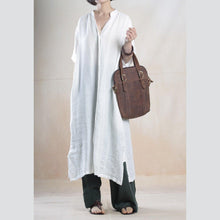 Load image into Gallery viewer, White linen shirt dress long summer maxi dresses caftans