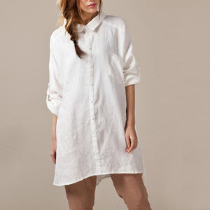 White linen shirts long sleeve oversize womens linen dresses plus size linen clothing buttons back
