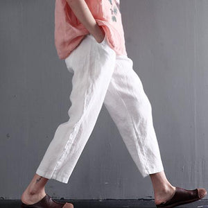 White linen summer pants think crop pants women