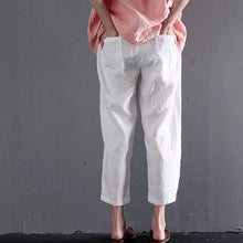 Load image into Gallery viewer, White linen summer pants think crop pants women