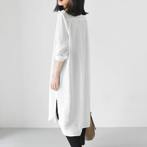 White long sleeve causal shirts dresses plus size spring shift dress