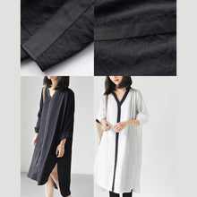 Laden Sie das Bild in den Galerie-Viewer, White long sleeve causal shirts dresses plus size spring shift dress