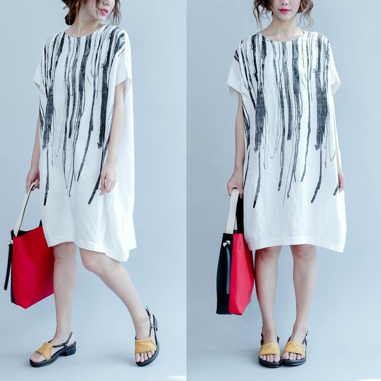 White oversized summer linen dresses short sleeve  linen sundress the paitings shirt dress
